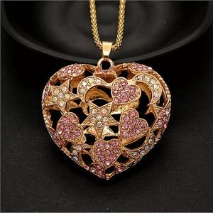 Moon Star Crystal Heart pendant gold necklace 💖